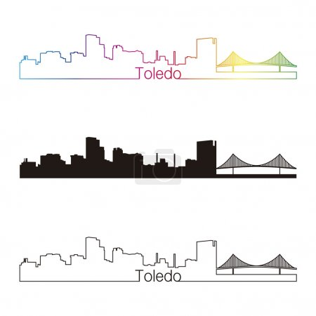 Illustration for Toledo OH skyline linear style with rainbow in editable vector file - Royalty Free Image