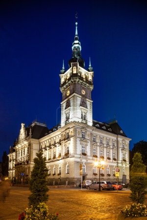 Bielsko-Biala, Poland - August 14 Night view of the Neo-Renaissance town hall