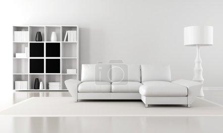 Foto de Blanco y negro minimalista salón - Render - Imagen libre de derechos