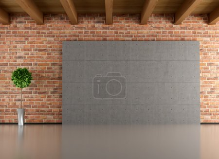 Photo for Empty interior with brick-wall cement panel and wooden ceiling- rendering - Royalty Free Image