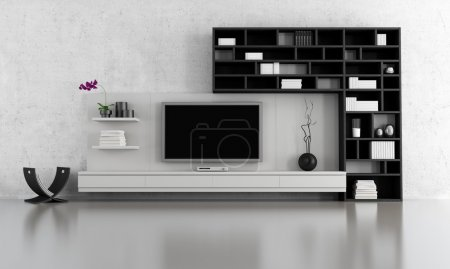 Photo for Black and white living room with tv stand and bookcase - rendering - Royalty Free Image