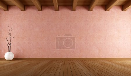 Photo for Empty room with salmon pink stucco wall and wooden ceiling - rendering - Royalty Free Image