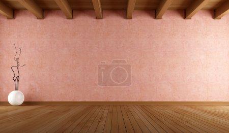 Photo pour Chambre vide avec mur en stuc rose saumon et plafond en bois - rendu - image libre de droit
