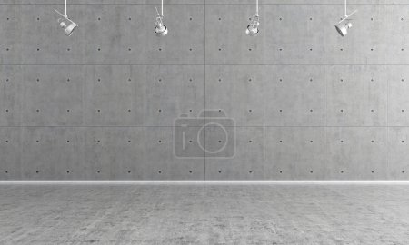 Photo for Minimalist empty room with panel and concrete floor - rendering - Royalty Free Image