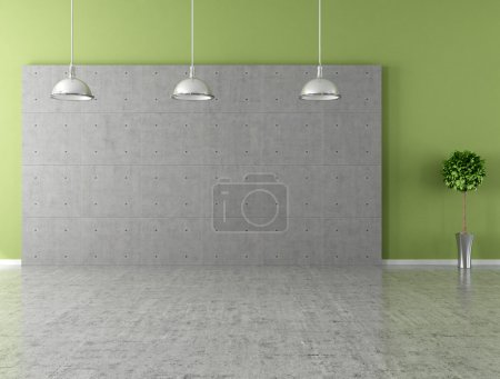 Photo for Modern empty room with panel and concrete floor - Royalty Free Image