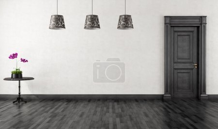Photo for Empty vintage room with black classic door- rendering - Royalty Free Image