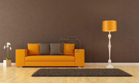 Photo for Brown living room with orange couch - rendering - Royalty Free Image