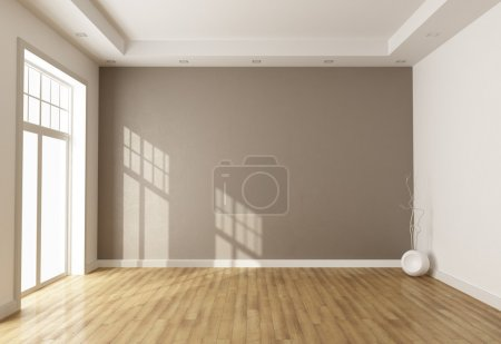 Photo for Empty brown room with window and parquet - rendering - Royalty Free Image