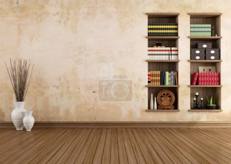 Vintage room with bookshelves