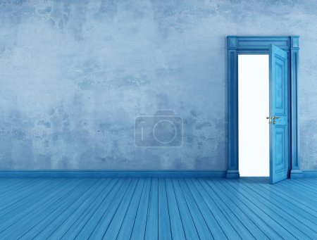 Photo for Empty blue vintage room with open old door - rendering - Royalty Free Image
