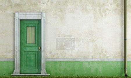Photo pour Détail d'une vieille maison avec porte d'entrée en bois vert - rendu - image libre de droit