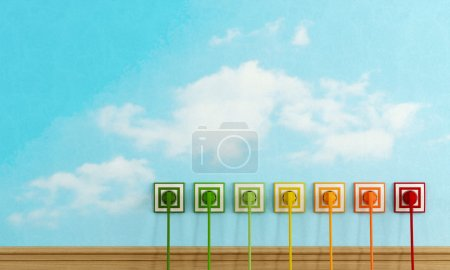 Energy efficiency concept with colorful electric plugs on sky wall - rendering -