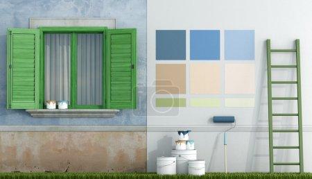 Foto de Seleccione la muestra de color para pintar la pared de una casa vieja - renderizado - Imagen libre de derechos