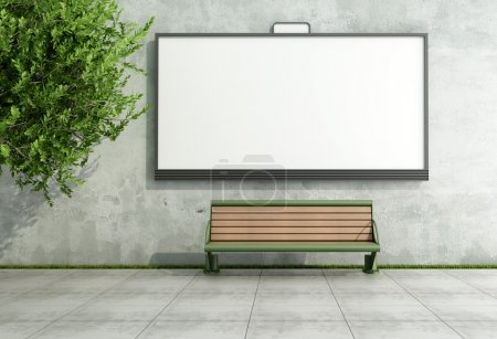 Photo for Blank street bilboard on grunge wall with bench - rendering - Royalty Free Image