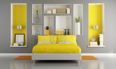Photo for Yellow and gray modern bedroom with double bed and niche - rendering - Royalty Free Image