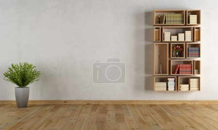 Photo for Empty interior with wooden wall bookcase - rendering - Royalty Free Image