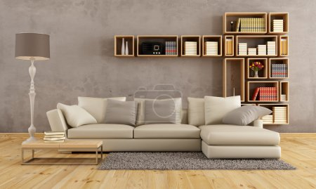 Photo for Living room with elegant sofa and wall bookcase - rendering - Royalty Free Image