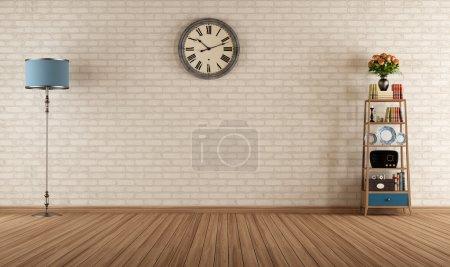 Foto de Vacía sala vintage con estantes y pared de ladrillo - representación - Imagen libre de derechos