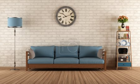 Photo for Vintage living room with wooden sofa - rendering - Royalty Free Image
