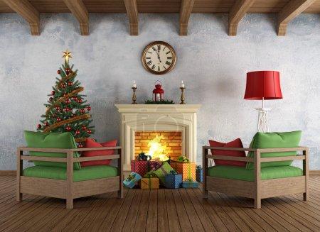 Vintage christams living room