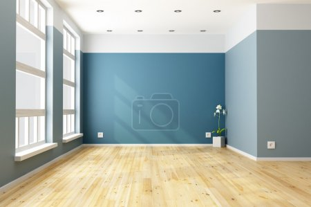 Empty blue living room