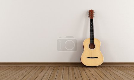 Photo for Acoustic guitar leaning against a white wall in an empty room - rendering - Royalty Free Image
