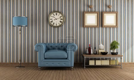Photo for Classic leather armchair in avintage living room with wallpaper - rendering - Royalty Free Image