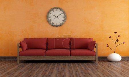 Photo pour Ancienne chambre avec canapé en bois contre le mur orange - rendu - image libre de droit