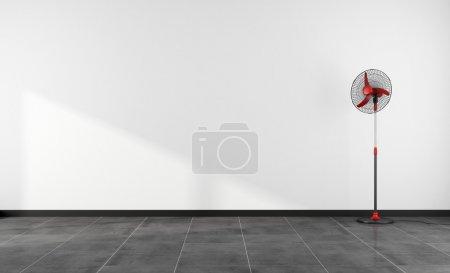 Foto de Minimalista habitación vacía con ventilador rojo - representación - Imagen libre de derechos