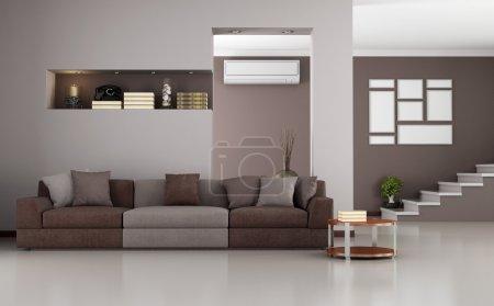 Photo pour Chambre moderne beige et marron avec escalier et climatiseur - rendu - image libre de droit