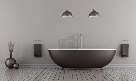 Foto de Minimalista cuarto de baño con bañera marrón - representación - Imagen libre de derechos