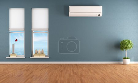 Photo for Blue empty room with two windows and air conditioner - rendering - Royalty Free Image