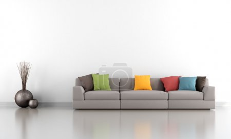 Photo for Minimalist living room with white wall and colorful sofa - rendering - Royalty Free Image