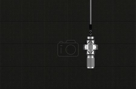 Photo pour Microphone professionnel devant les panneaux acoustiques - image libre de droit