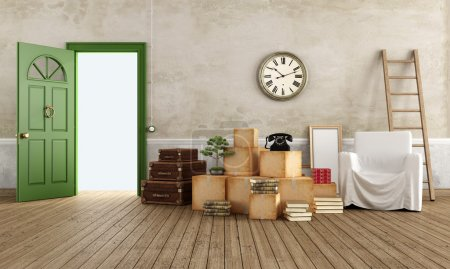 Photo for Vintage interior with cardboard boxes, scale, suitcase, armchair and books, ready for the move - rendering - Royalty Free Image