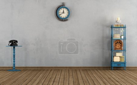 Empty vintage room with little bookshelves,clock a...
