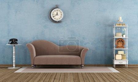 Photo pour Salon vintage avec petites étagères et canapé élégant sur tapis - rendu - image libre de droit