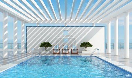 Photo pour Villa de vacances de luxe contemporain avec piscine près de la mer - rendu - image libre de droit