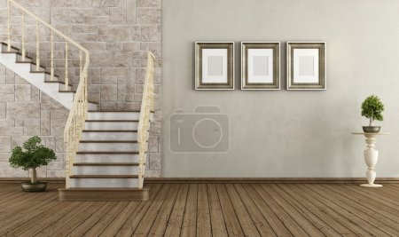 Photo for Retro room with wooden staircase - rendering - Royalty Free Image