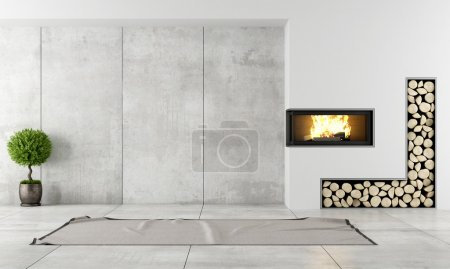 Photo for Minimalist living room with fireplace without furniture - Royalty Free Image