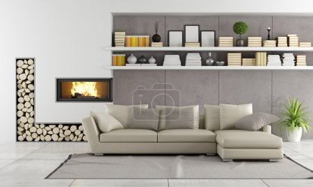 Photo for Modern living room with fireplace,sofa and shelves with books and objects - rendering - Royalty Free Image