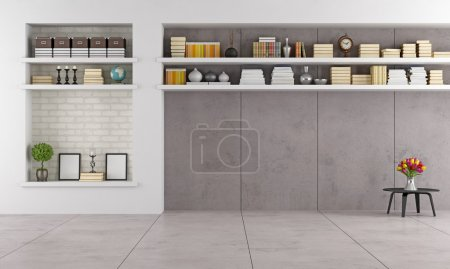 Photo for Modern living room wit niche and shelves without furniture - rendering - Royalty Free Image
