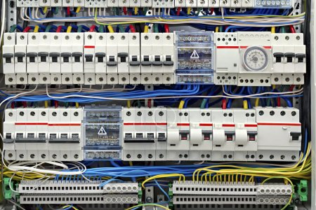 Photo for Electrical panel with fuses closeup - Royalty Free Image