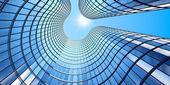 """Постер, картина, фотообои """"3D визуализация Утренний вид в перспективе стеклянное здание"""""""