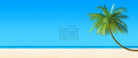 3d render of Tropical beach panorama with palm tree