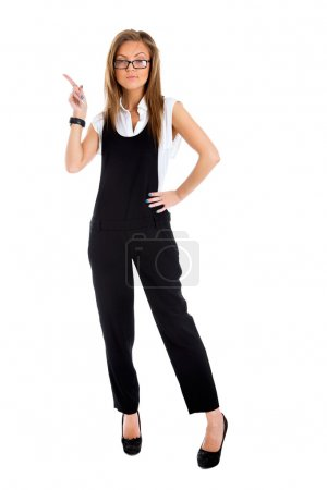 Business woman pointing showing and looking to the side up at em
