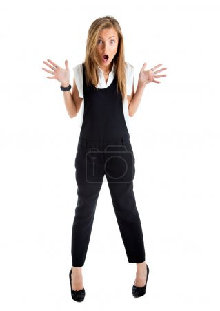 Shocked woman isolated. Businesswoman with funny surprised expre