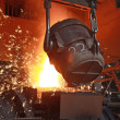 Red hot molten steel in a iron and steel enterpris...