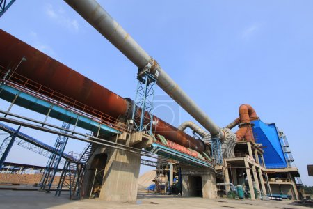 rotary kiln and electric dust removal equipment in a cement fact