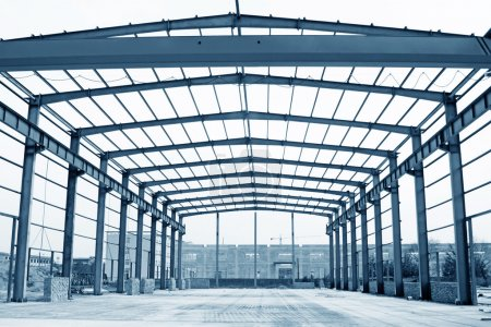 Photo for Closeup of steel structure framework in a factory - Royalty Free Image